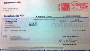 bank of america penny check